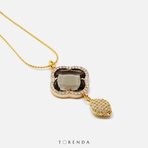 Foto Produk Torenda Four Leaf Clover Gold Plated Pendant Hitam Kalung Wanita - Hitam dari TORENDA