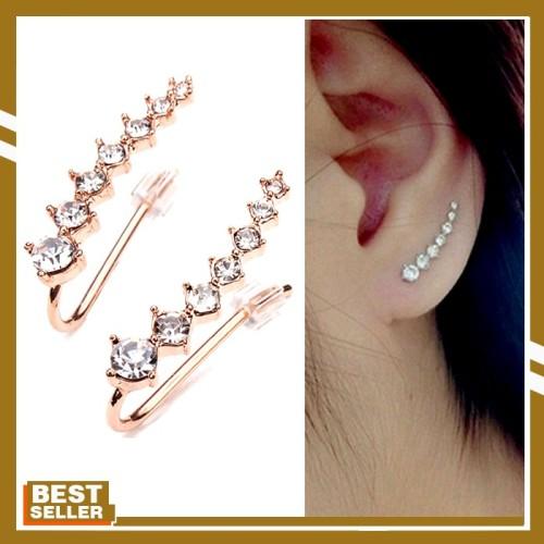 Jual Italina Rhinestone Crystal Ear Cuff Earrings 18k Rose Gold Plated Jakarta Barat Famous Import Shop Tokopedia