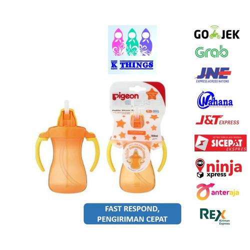 Foto Produk Pigeon Petite Straw Bottle 9m+ / Botol Minum Sedotan Pigeon 9m+ Orange dari K Things