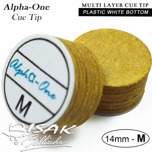 Foto Produk Alhpa One Cue Tip - 14mm Medium Layer Tips Kepala Stick Billiard Lapis dari ISAK Billiard Sport Co.