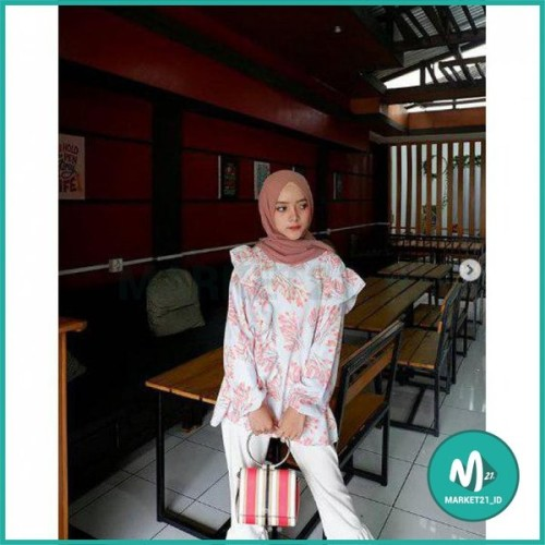 Foto Produk BAJU ATASAN MUSLIM WANITA MALIKA TOP BIRU BLOUSE MUSLIM WANITA dari Market21_id