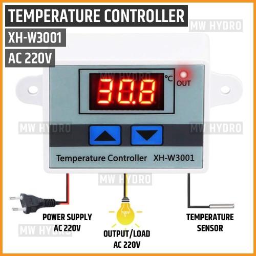 Foto Produk Digital Thermostat, Temperature Controller, XH-W3001, 220V AC dari MW Hydro