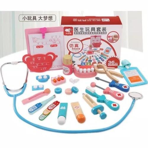 Foto Produk Mainan anak Simulasi Dokter Gigi/Dentist wooden simulation 0ne set dari AUTO KID II