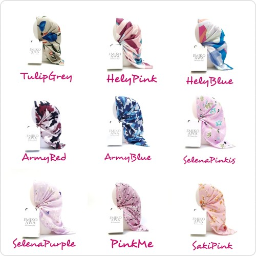Foto Produk Kerudung segiempat MOTIF 5 / Hijab / Jilbab / Square / souvenir dari emikoawa