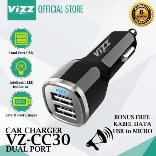 Foto Produk CAR CHARGER MOBIL DUAL PORT USB 2.4A CASAN MOBIL VZ-CC30 ORIGINAL VIZZ dari BenuaCell