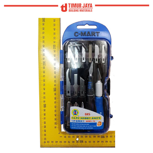 Foto Produk Hobby Knife Set Cmart / Pisau Ukir Pahat / Cutter Set 14 pcs dari TOKO BESI TIMUR JAYA