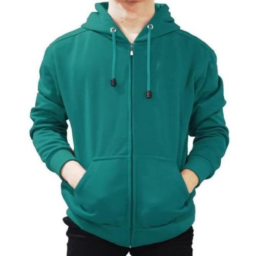 Foto Produk Jaket Sweater Hoodie Zipper Hijau Tosca Pria Wanita dari DELDICK_OLSHOP
