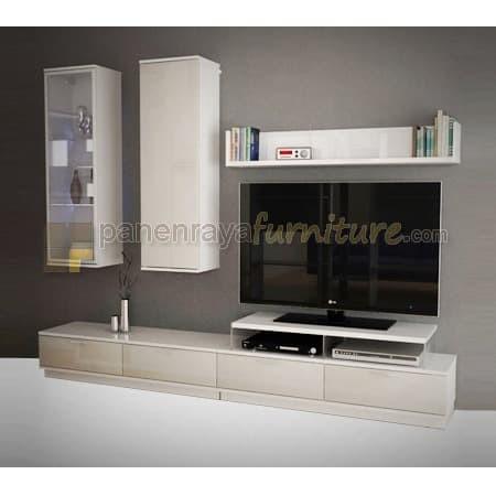 Jual Meja Tv Lemari Tv Wall Unit Pro Design Tanpa Tv White Glossy Taupe Kota Tangerang Panen Raya Furniture Tokopedia