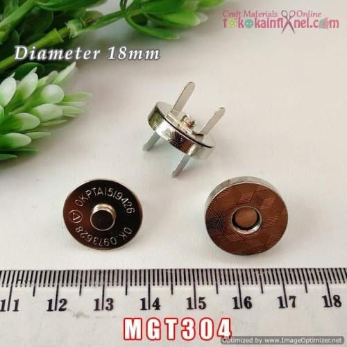 Foto Produk MGT304 Magnet Tas /Kancing Magnet silver 1.8cm (Per pcs) dari Toko Kain Flanel dot com
