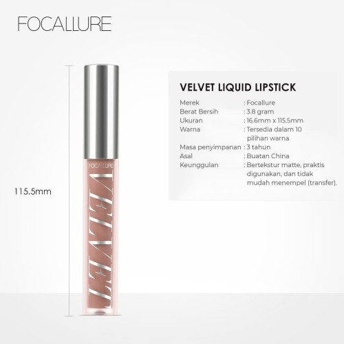 FOCALLURE Velvet Liquid Lipstick Makeup Lip Gloss FA76 - Copper Rose X 2