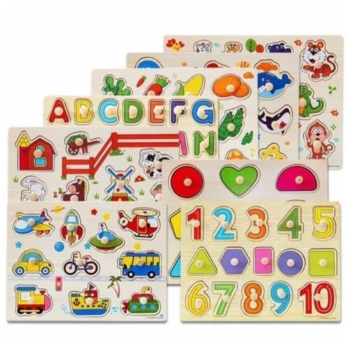 Foto Produk mainan edukasi anak puzzle kayu KNOB utk pemakaian pemula belajar dari AUTO KID II