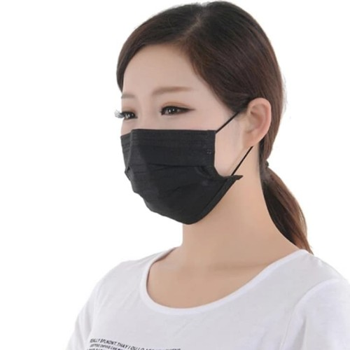 Foto Produk Masker kasa hitam anti debu polusi 3 ply tebal pm 2.5 - Hitam dari JOW
