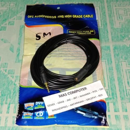 Foto Produk Kabel jack audio extension 3.5 mm panjang 5M gold Audio mele to fimel - Hitam dari MAS computer