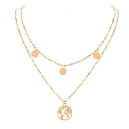 Foto Produk kalung round world map pendant necklace jka168 - Silver dari Oila