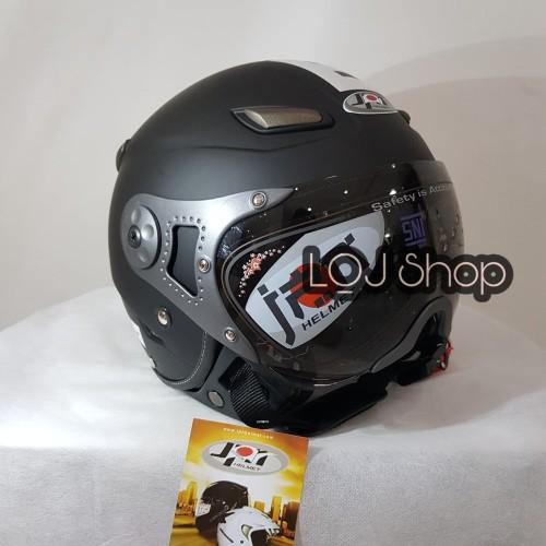 Foto Produk Helm JPN Kawai Momo Matt Black Doff Kaca Pilot dari LQJ shop