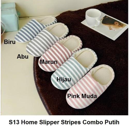 Foto Produk S13 Sendal Rumah Stripes Combo Putih Sandal Kamar Home Slipper Slipper - 40-41, Hijau dari kioscasing