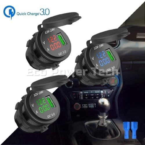 Foto Produk Quick Fast Charger Lighter QC3.0 LED Voltmeter Ammeter Usb Waterproof - LED MERAH dari Eco Power Tech