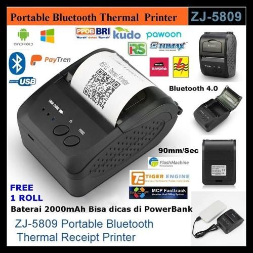 Zjiang Zj 5802 Mini Mobile Printer Pos Resep Nota Receipt Struk Thermal Bluetooth Wireless Portable Shopee Indonesia