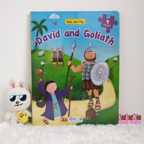 Foto Produk Buku Puzzle Anak Import - Read and Play David and Goliath - 4 jigsaws dari LuLuKu Book Store