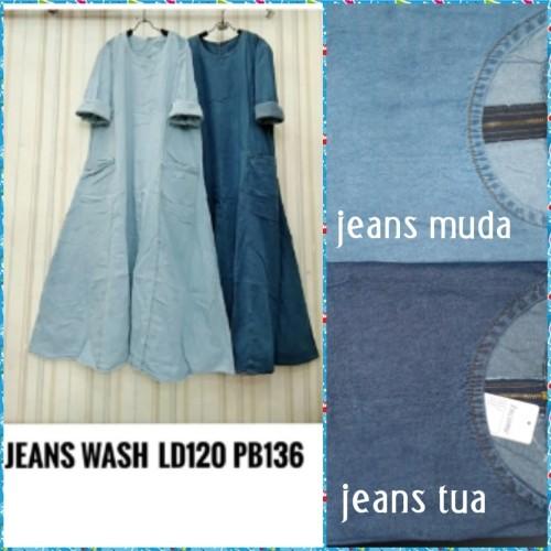 Foto Produk Gamis Jean's wash (adem.lembut) saku fungsi resleting belakang dari Winnie Collection