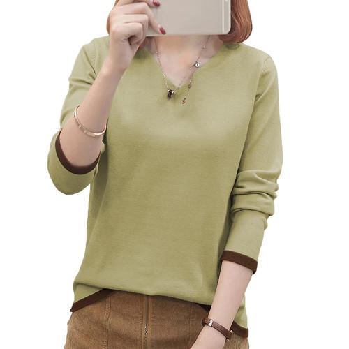 Foto Produk Sweater Rajut Tangan Panjang gaya Korea Leher V - JFashion Vini - Krem dari j--fashion
