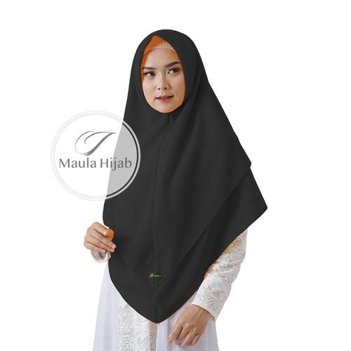 Foto Produk KHIMAR SYARI Tanpa Pet Full 2 Layer Diamond Ori Terbaru by Maula Hijab - Hitam dari Hijab Maula