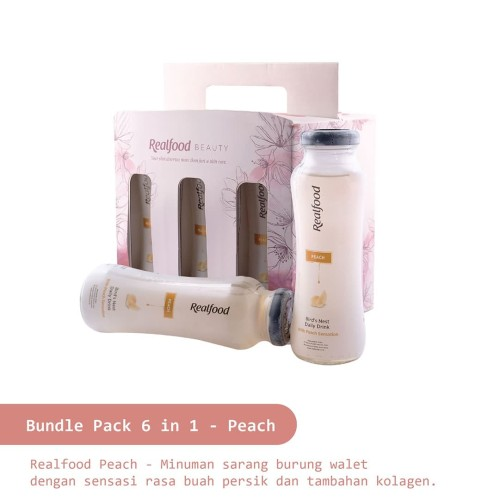 Foto Produk Realfood Peach 210 ml - Bird's Nest Persik plus Kolagen - Paket 6 in 1 dari Realfood