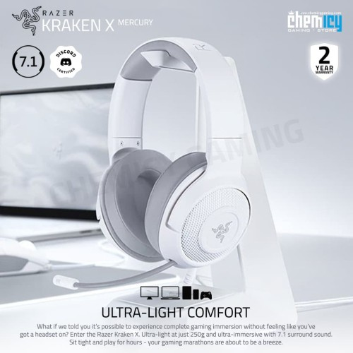 Foto Produk Razer Kraken X Mercury Multi Platform 7.1 Surround Gaming Headset dari Chemicy Gaming