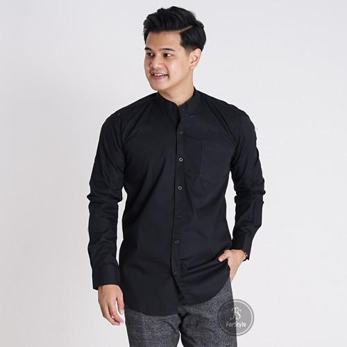 Foto Produk Baju Kemeja Lengan Panjang Casual Pria Hitam Polos Slimfit 3114 - Hitam, L dari Virtual Custom Clothing