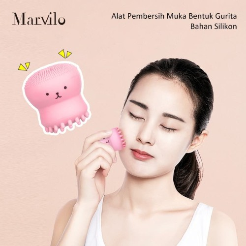 Marvilo Alat Pembersih Muka Bentuk Gurita Bahan Silikon - Merah Muda 5