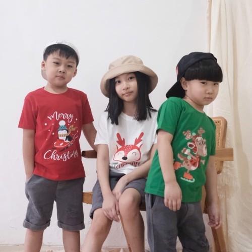 Foto Produk Kaos Natal Anak - Anak Usia 1-9 tahun  Christmas Tee  Baju Natal Anak - S 1Y, Merah dari Little Jergio