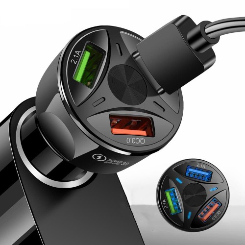 Foto Produk Car Charger 3 Port Round Model WIth QC 3.0 Fast Car Charger 3 Port - Hitam dari daffin