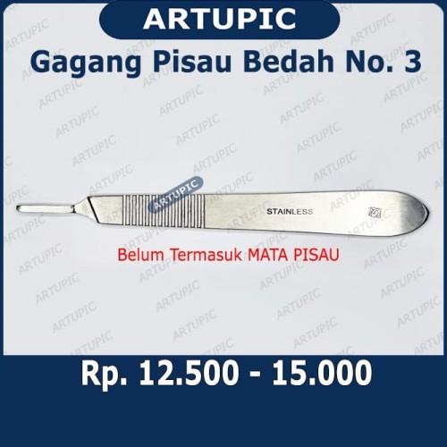 Foto Produk Gagang Pisau Bedah Nomer 3 Scaple Scalpel Handle Handel Operasi Kebiri dari ArtupicPeralatanPeternak