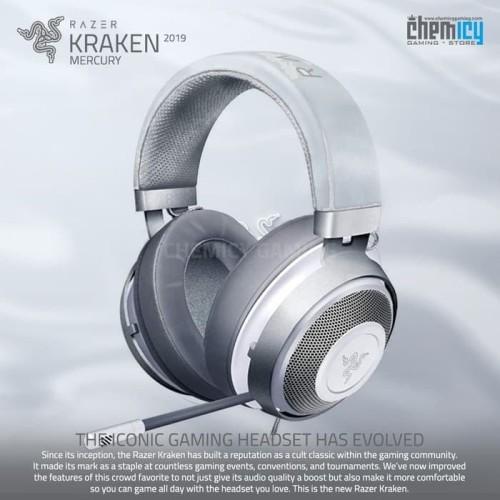 Foto Produk Razer Kraken 2019 Mercury White Multi Platform Gaming Headset dari Chemicy Gaming