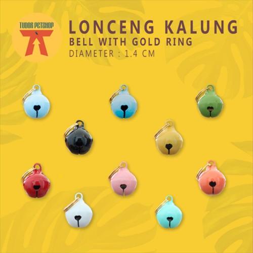 Foto Produk LONCENG KALUNG Kucing BELL PEA WITH GOLD RING SIZE 1,4 CM / WARNA dari Tudor Petshop