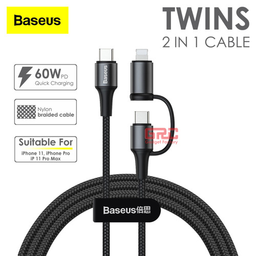 Foto Produk Baseus 2 in 1 Cable Charger USB Type C PD 3A Lightning 60W Kabel Data dari Gadget Factory