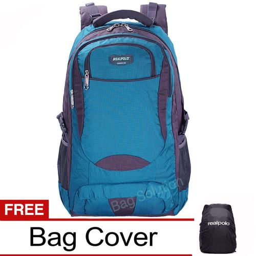 Foto Produk Real Polo Tas Ransel Kasual Jumbo/ XL Bonus Bag Cover - Biru dari Bag Solution