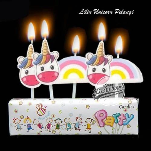 Foto Produk lilin ulang tahun unicorn pelangi lilin karakter unicorn awan pelangi dari PARTY HOPE 2