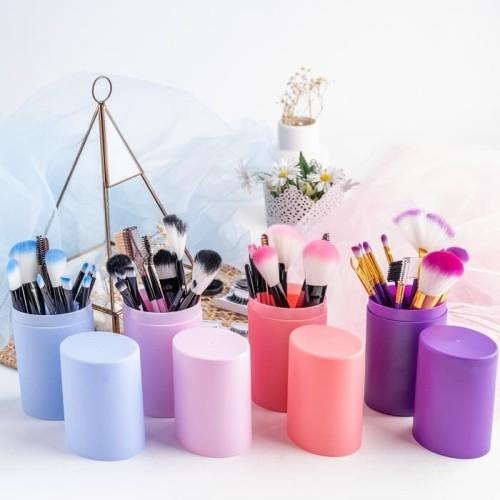 RUMAUMA Brush Makeup ISI 12 PCS Kuas Set Lembut Dengan Tempat Holder - Biru Muda 2