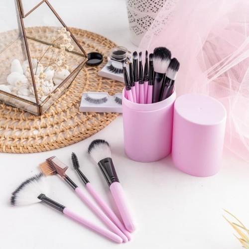 RUMAUMA Brush Makeup ISI 12 PCS Kuas Set Lembut Dengan Tempat Holder - Biru Muda 4