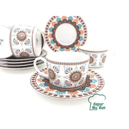 Foto Produk 6 Pasang Cangkir Set Motif Marakesh / 6 Cangkir Kopi & 6 Alas Cangkir dari Dapur Ny.Bun