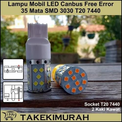 Foto Produk Lampu Mobil LED Sein/Sen PUTIH / Kuning 35 Mata 12V T20 7440 2 KAKI DC dari TejaMart