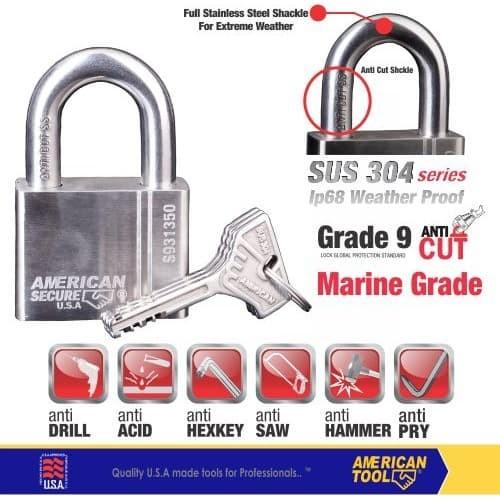 Foto Produk Gembok American Secure 50mm Pendek Marine Grade S931350MG dari American Tool & Secure