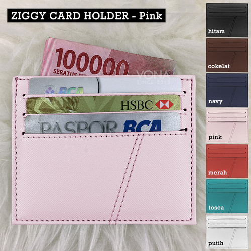 Foto Produk Card Holder 6 Slot + 1 Slot for Money Cardholder - VONA ZIGGY - Merah Muda dari VONA
