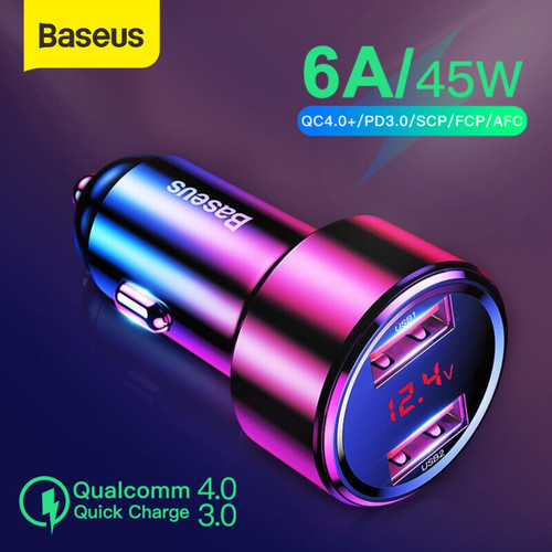 Foto Produk CAR CHARGER BASEUS CHARGER MOBIL QUICK CHARGE DUAL USB TYPE C 45W/6A - DUAL USB dari Baseus Official Store