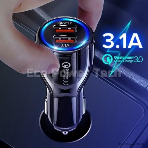 Foto Produk Qualcomm QC3.0 Quick Charger Fast Charging Dual 2 USB 12V-32V QC 3.0 - Putih dari Eco Power Tech