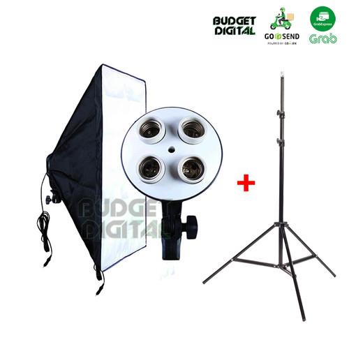 Foto Produk Photo Studio Softbox KIT - Light Stand - 4 Socket E27 Softbox 50x70 - Softbox KIT dari BudgetDigital