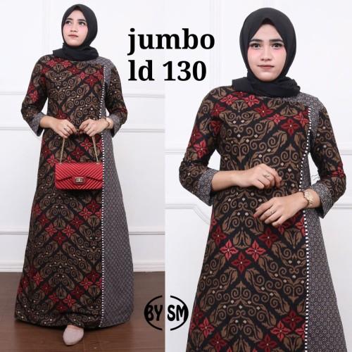 Foto Produk Baju dress gamis batik kombinasi super jumbo ld 130 - Merah dari TABASAMA