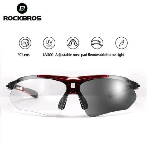 Foto Produk ORIGINAL Kacamata sepeda ROCKBROS maroon hitam lensa Photochromic dari Kaligung