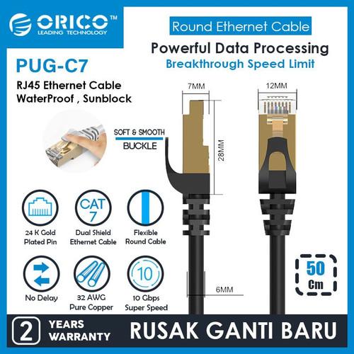 Foto Produk ORICO LAN Round Cable CAT7 10Gbps Ethernet Network - 50CM - PUG-C7-05 - Hitam dari ORICO INDONESIA
